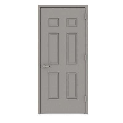 Gray 6-Panel Fire Proof Prehung Commercial Entrance Door with Welded Frame