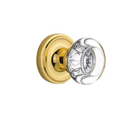 Classic Rosette 2-3/4 in. Backset Polished Brass Passage Round Clear Crystal Glass Door Knob