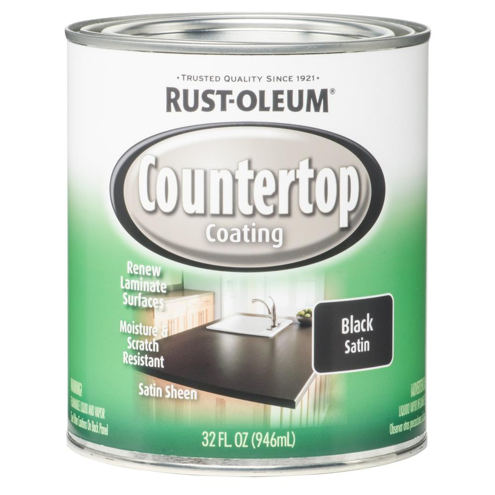 1 qt. Black Satin Countertop Interior Paint (Case of 2)