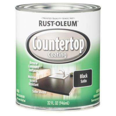 1 qt. Black Satin Countertop Interior Paint (Case of 2)