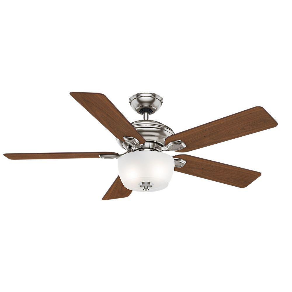 Utopian 52 in. Indoor Brushed Nickel Ceiling Fan with 4-Speed Wall-Mount Control