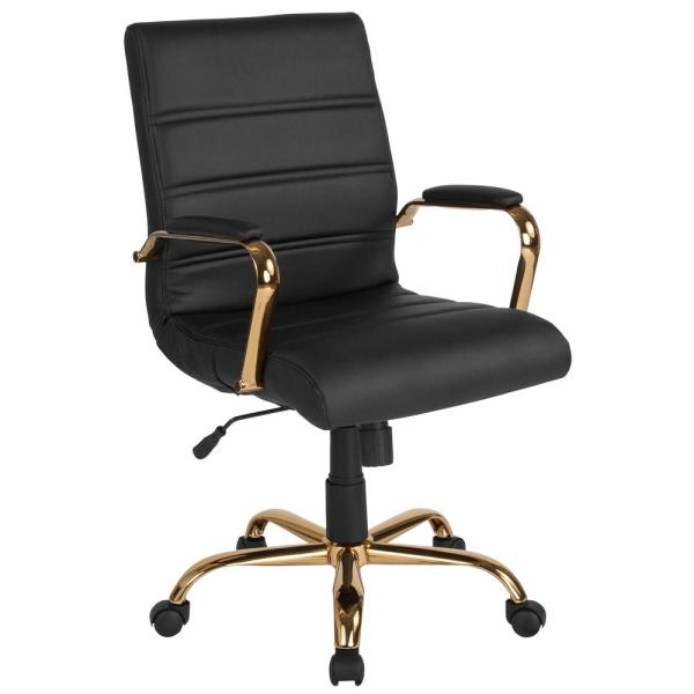 Black Leather/Gold Frame Office/Desk Chair