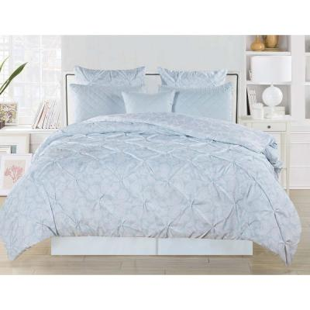 Surus Reversible Pintuck Comforter Set in Blue