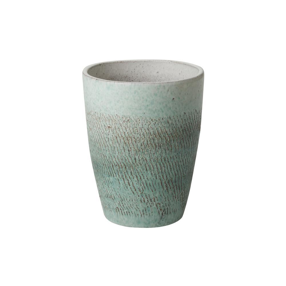 Bullet 12 in. H Coastal Splash Ceramic Round Planter