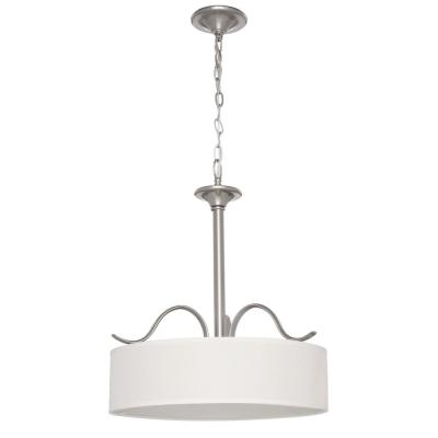 Inspire Collection 3-Light Brushed Nickel Pendant with Beige Linen Shade