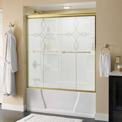 Crestfield 60 in. x 58-1/8 in. Semi-Frameless Sliding Bathtub Door in Brass with Tranquility Glass
