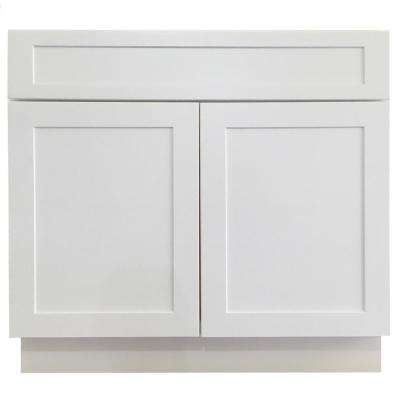 Shaker Ready to Assemble 36x34.5x24 in. Sink Base Cabinet with 2-Door and 2-False Drawer in White