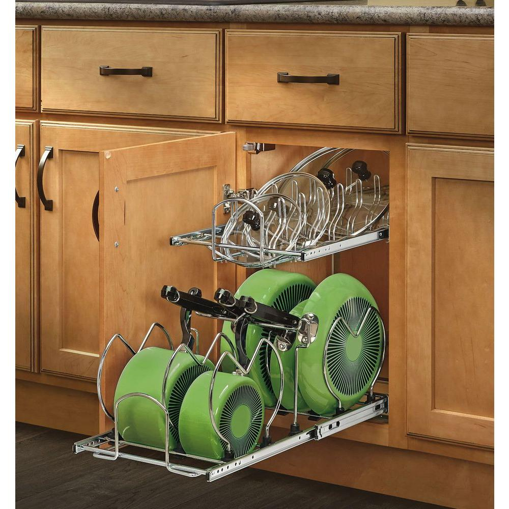 Rev A Shelf 18 In. H X 11.75 In. W X 22 In. D Pull Out Two Tier Base Cabinet  Cookware Organizer With Soft Close Slides 5CW2 1222SC CR   The Home Depot