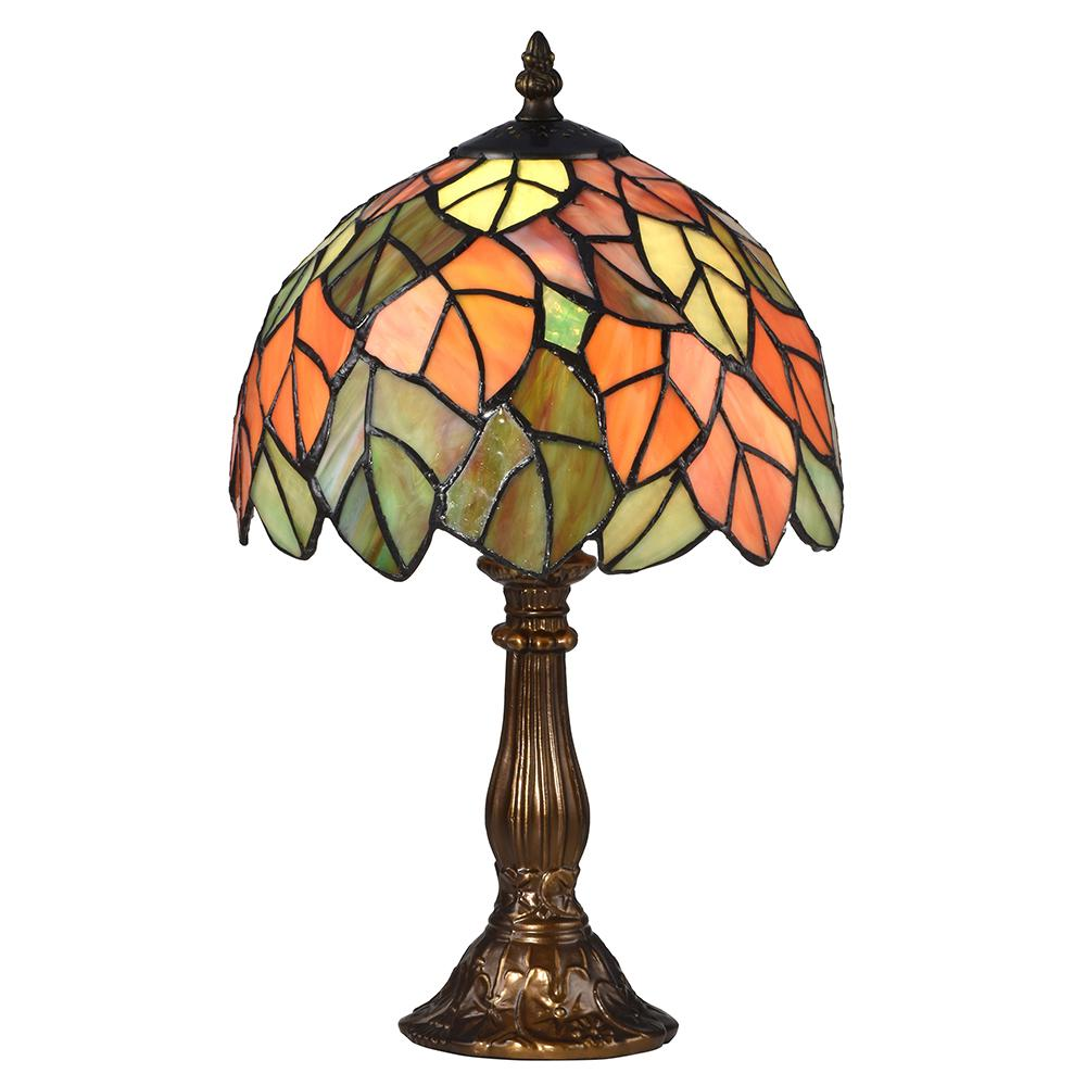 Springdale Lighting 15 in. Cape Regina Antique Bronze Table Lamp with Tiffany Art Glass Shade
