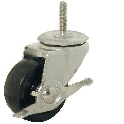3 in. Soft Rubber Threaded Stem Caster with 150 lb. Load Rating and Brake