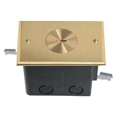 Slater Brass 1-Gang Floor Box with Single Tamper-Resistant Receptacle for Wood Sub-Floor