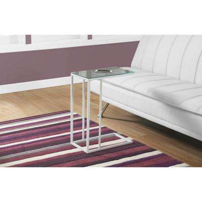 White Metal Mirror Top Accent Table