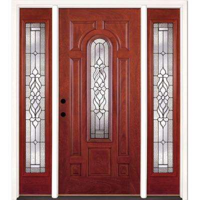 67.5 in. x 81.625 in. Lakewood Patina Stained Cherry Mahogany Right-Hand Fiberglass Prehung Front Door with Sidelites