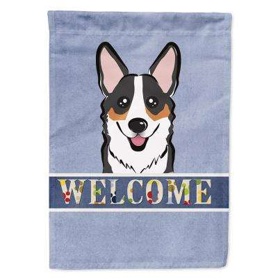 11 in. x 15-1/2 in. Polyester Tricolor Corgi Welcome 2-Sided 2-Ply Garden Flag