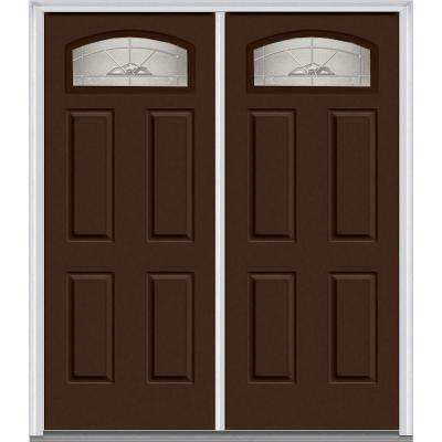 64 in. x 80 in. Master Nouveau Right-Hand Inswing Cambertop Decorative Glass 4-Panel Painted Steel Prehung Front Door