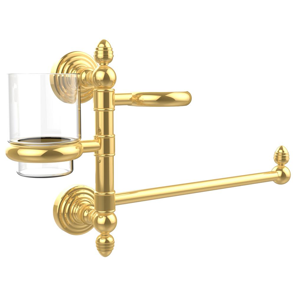 Allied Brass Waverly Place Collection Hair Dryer Holder and Organizer in Polished Brass