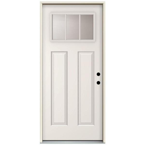 32 in. x 80 in. 3 Lite Left-Hand Inswing Primed White Steel Prehung Front Door with 4 in. Wall