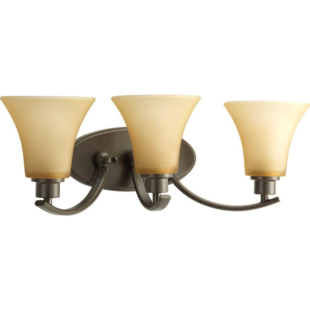 Progress Lighting Joy Collection 3-Light Antique Bronze Bathroom Vanity Light with Glass Shades