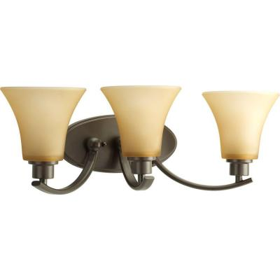 Joy Collection 3-Light Antique Bronze Bathroom Vanity Light with Glass Shades