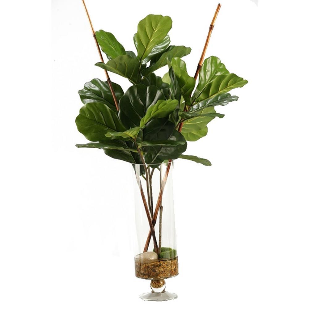 Indoor Fiddle Leaf Fig Branches in Glass Pedestal Vase