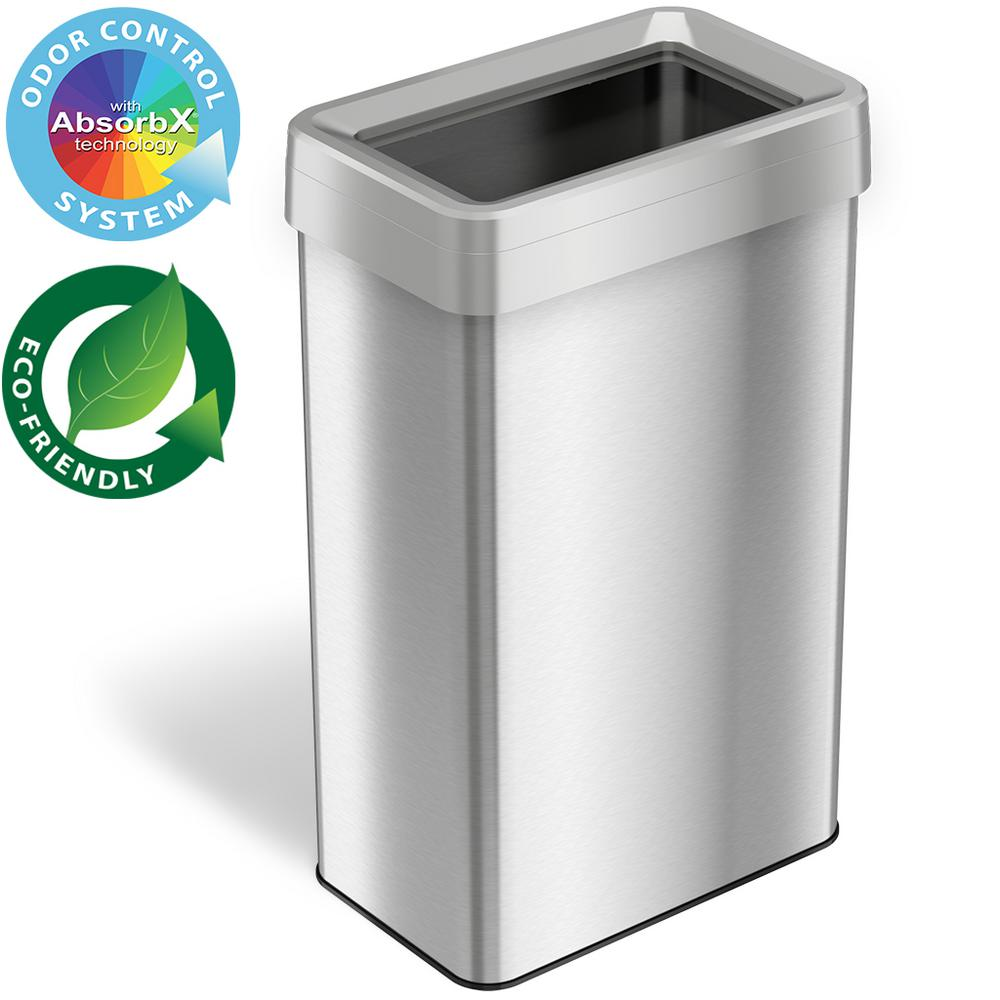 iTouchless 21 Gal. Rectangular Open Top Commercial Grade Stainless Steel Trash Can and Recycle Bin with Dual-Deodorizer