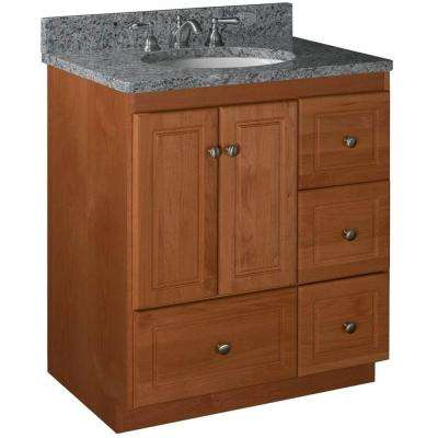 Ultraline 30 in. W x 21 in. D x 34.5 in. H Vanity with Right Drawers Cabinet Only in Medium Alder