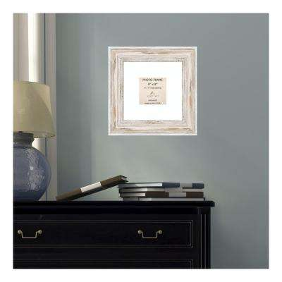 Alexandria 4 in. x 4 in. White Matted Whitewash Picture Frame