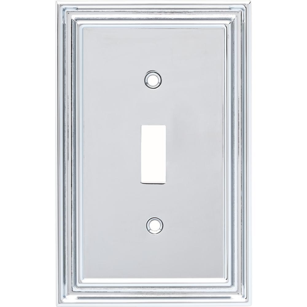 Liberty Silverton Decorative Single Light Switch Cover Polished Chrome