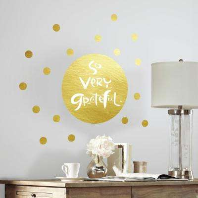 5 in. x 19 in. Kathy Davis Grateful Gold Foil Quote 21-Piece Peel and Stick Giant Wall Decals
