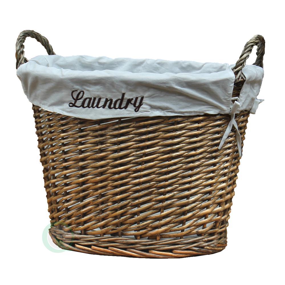 17.5 in. W x 14.3 in. D x 13 in. H Wicker Laundry Basket ...