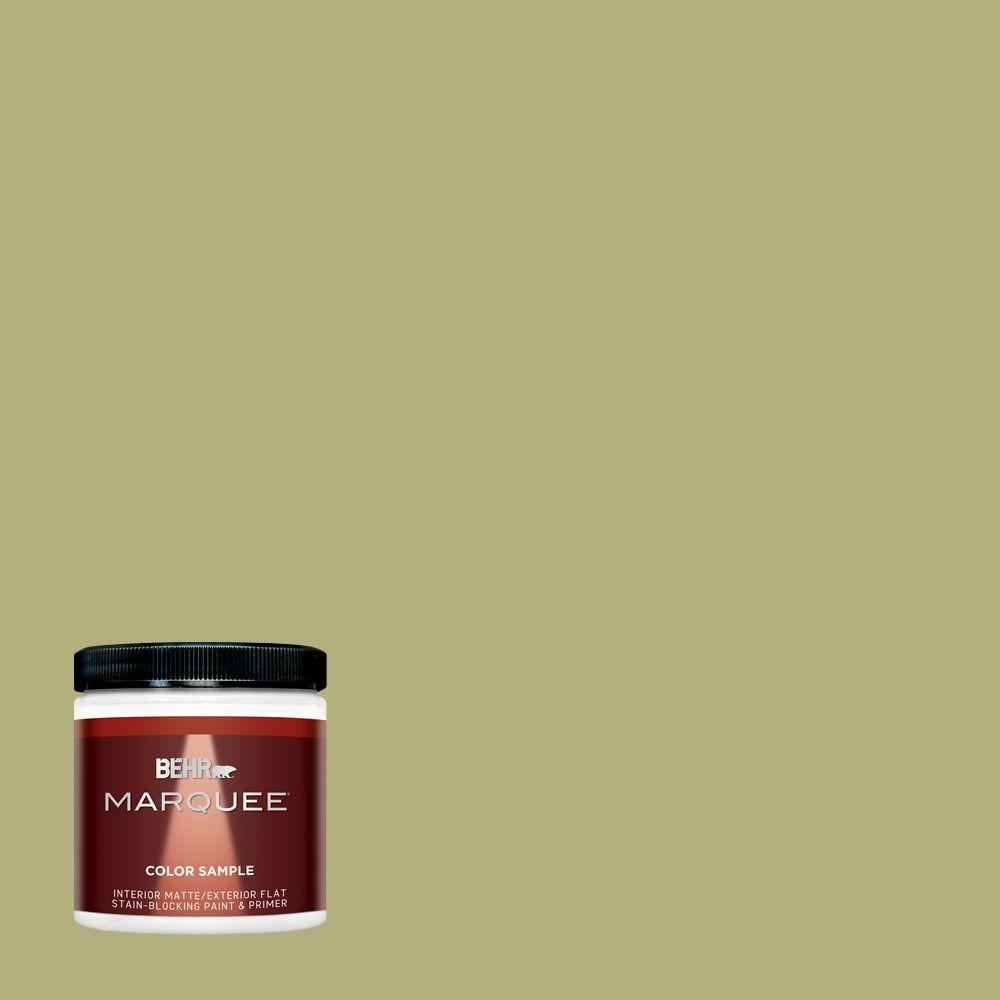 BEHR MARQUEE 8 oz  #M340-5 Fresh Artichoke One-Coat Hide Matte  Interior/Exterior Paint and Primer in One Sample