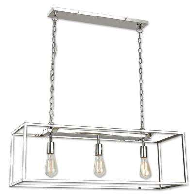 rectangular cage chandelier rectangle mateo 3light polished nickel chandelier incandescent cage chandeliers lighting the home depot