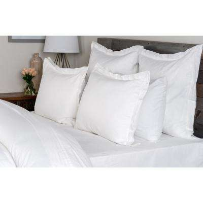 Harlow White Linen Blend Queen Duvet Cover