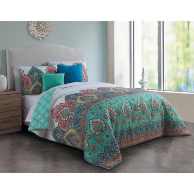 Livia 5-Piece Jade Queen Comforter Set