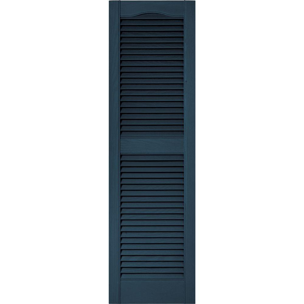 Builders Edge 15 in. x 52 in. Louvered Vinyl Exterior Shutters Pair #036 Classic Blue