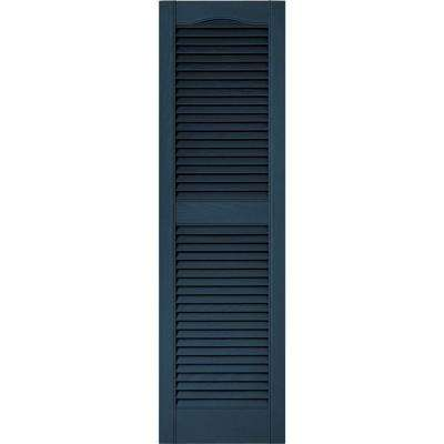 15 in. x 52 in. Louvered Vinyl Exterior Shutters Pair #036 Classic Blue