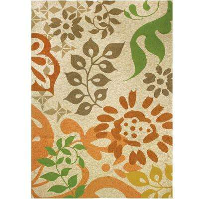 Sierra Floral Gold 8 ft. x 10 ft. Indoor/Outdoor Area Rug