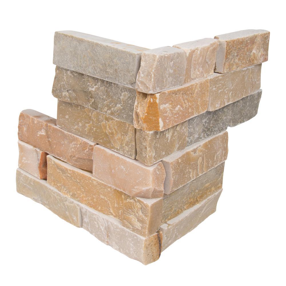 Golden Honey Ledger Corner 6 in. x 6 in. x 6 in. Natural Quartzite Wall Tile (2 sq. ft. / case)