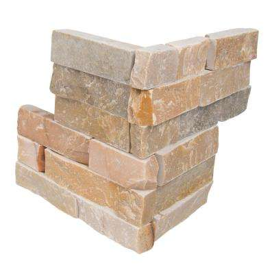 Golden Honey Ledger Corner 6 in. x 6 in. x 6 in. Natural Quartzite Wall Tile (2 sq. ft. / case)