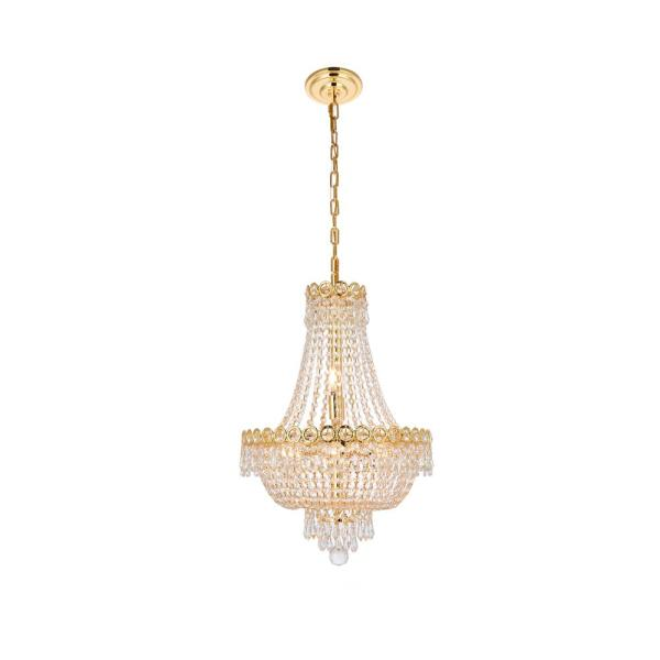 Timeless Home 16 in. L x 16 in. W x 22 in. H 8-Light Gold with Clear Crystal Contemporary Pendant