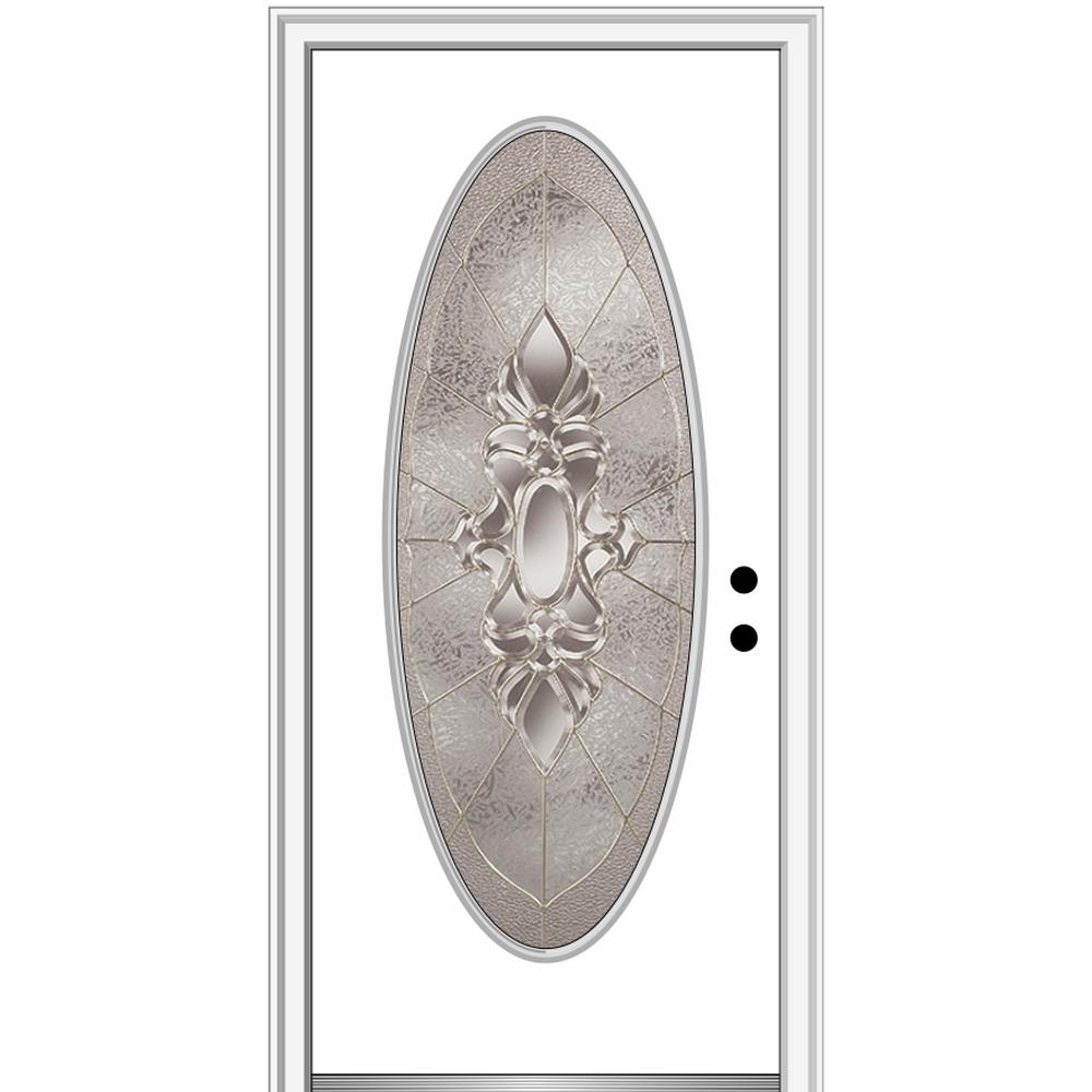 MMI Door 32 in. x 80 in. Heirlooms Left-Hand Inswing Oval Lite Decorative Painted Steel Prehung Front Door on 4-9/16 in. Frame