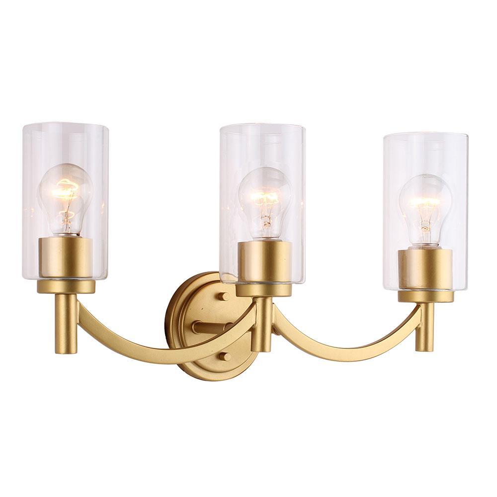 Eglo Devora 3-Light Antique Gold and Clear Glass Bath Light