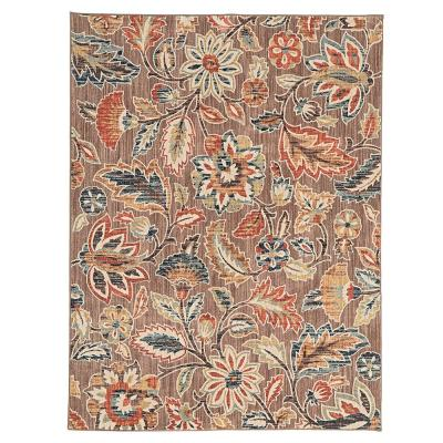 Elyse Taupe 8 ft. x 10 ft.  Floral Area Rug