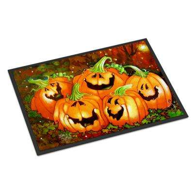 18 in. x 27 in. Indoor/Outdoor Such A Glowing Personality Pumpkin Halloween Door Mat