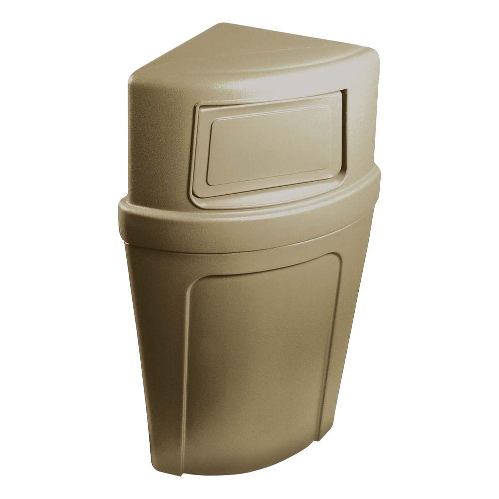21 Gal. Beige Corner Commercial Trash Can