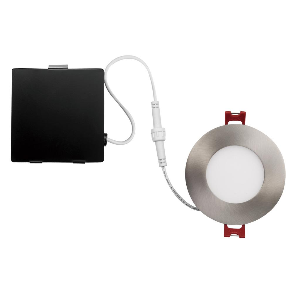 Globe Designer Ultra Slim 3 in. Brushed Nickel Integrated LED Recessed Kit