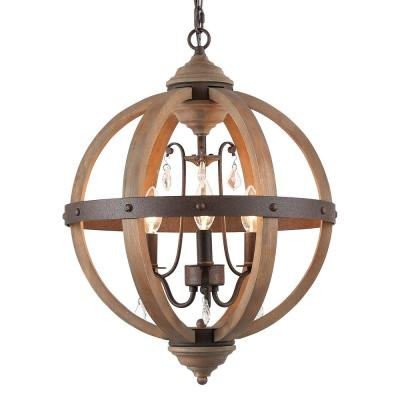 Navejo 3-Light Bronze Orb Wood Chandelier with Crystal Drops