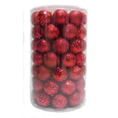 Holiday Traditions 3  in. Ornament Tube in Red (75-Count)