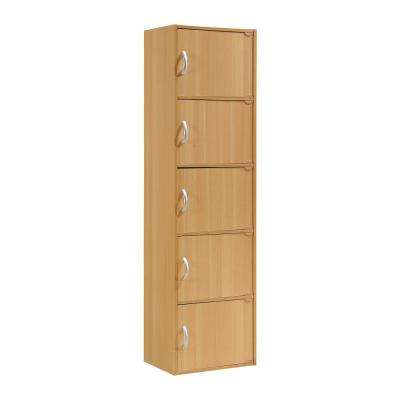 5-Shelf, 59 in. H Beech Bookcase with Doors