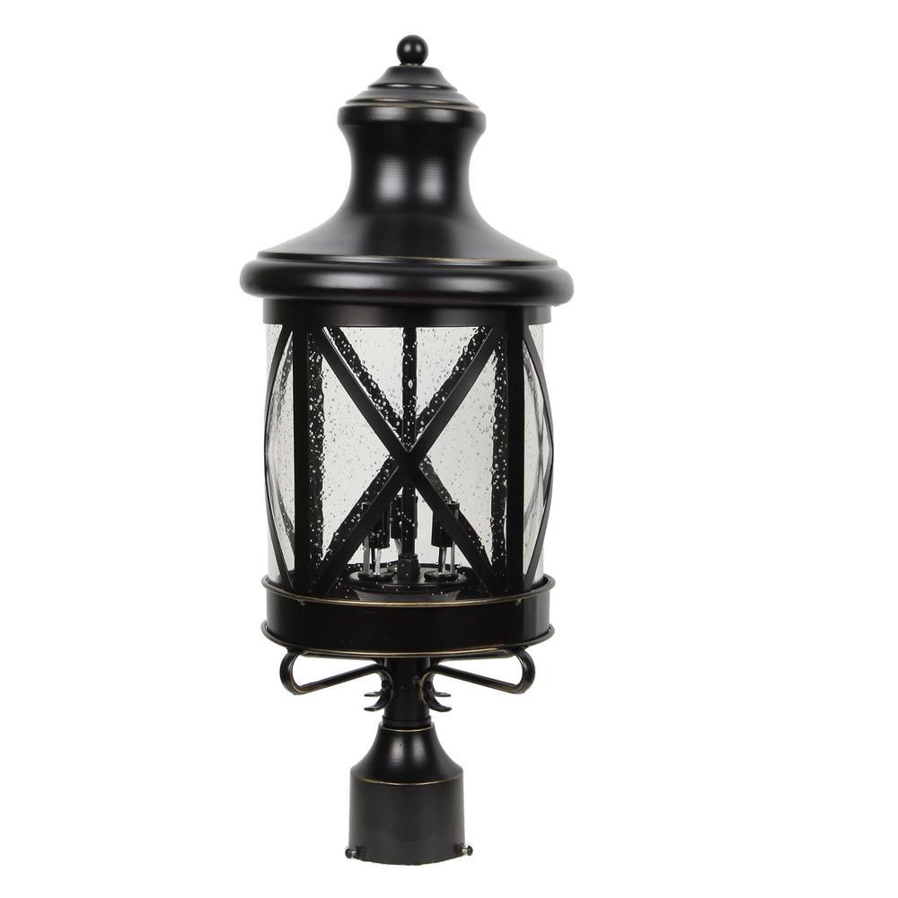 Taysom 3-Light Outdoor Black Post Light